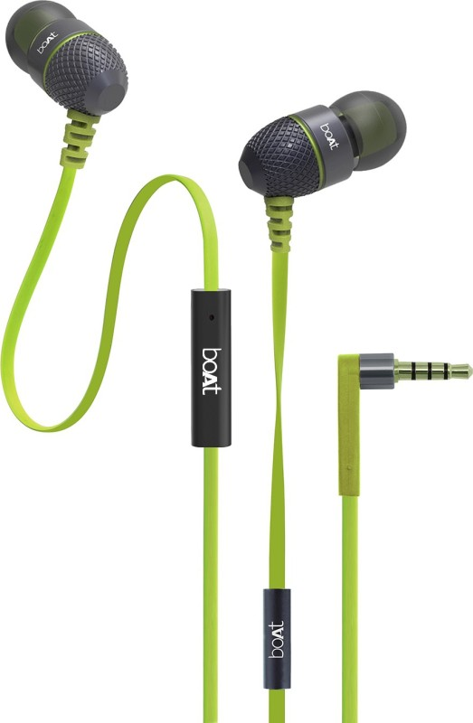 boAt BassHeads 225 Headset with Mic(Lime, In the Ear)