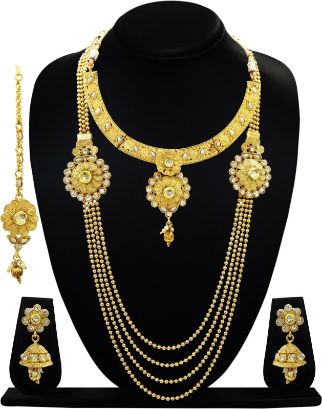 ARTS CHETAN Copper Jewel Set(White, Gold)