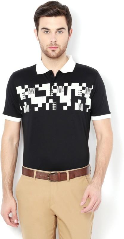 Van Heusen Printed Men Polo Neck Black T-Shirt