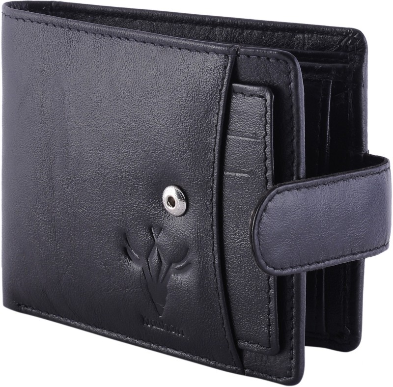 Krosshorn Men Black Genuine Leather Wallet(5 Card Slots)