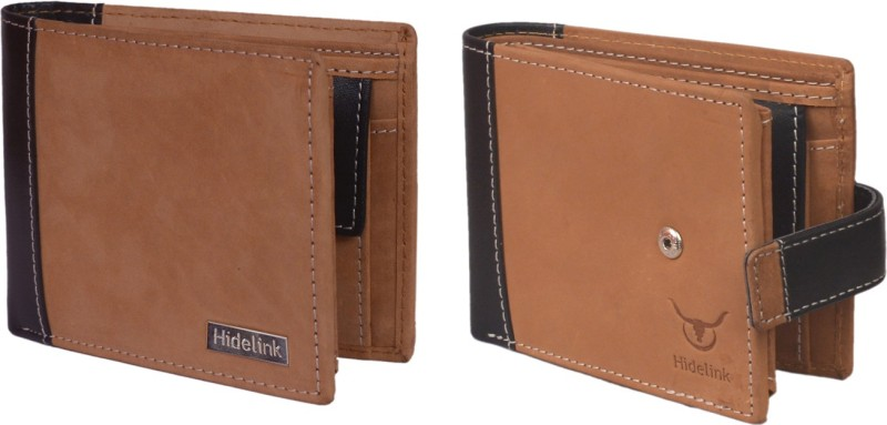 Hidelink Men Tan Genuine Leather Wallet(7 Card Slots)