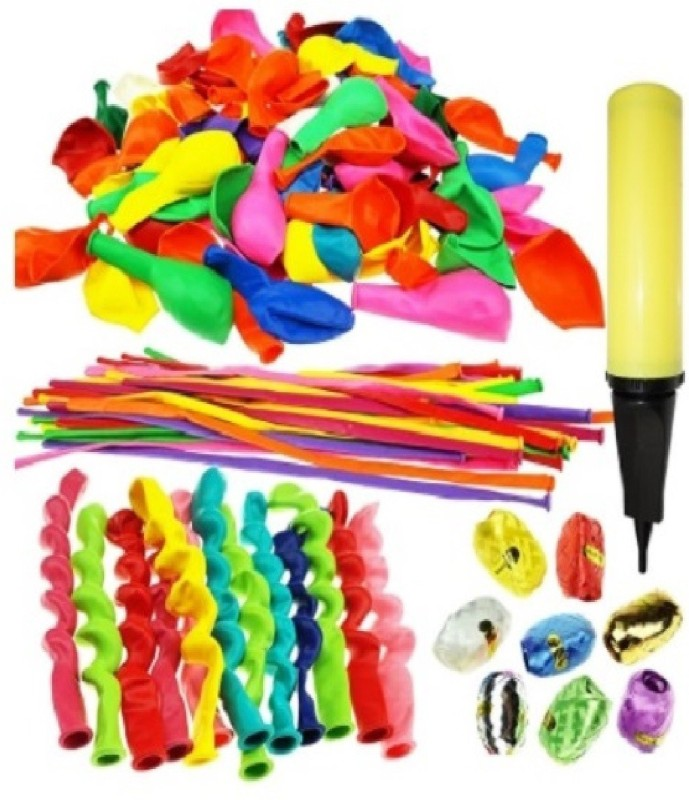 PartyballoonsHK 140 Pieces Party Balloons with Hand Air Inflator and 8 colors of Crimped Curling Ribbons -Birthday Decoration Combo(Birthday Balloon Combo)