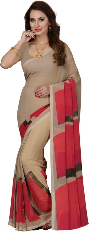 Ishin Printed Bollywood Faux Georgette Saree(Beige)
