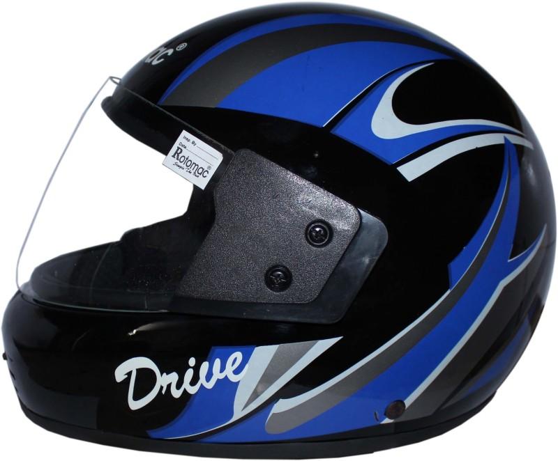 Rotomac Full Face Plain Visor ISI Mark Solid Plastic Black Blue Motorbike Helmet(Black)