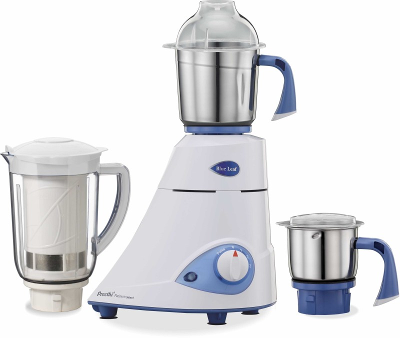 Preethi Blue Leaf Platinum select MG226 750 W Mixer Grinder(White, 3 Jars)
