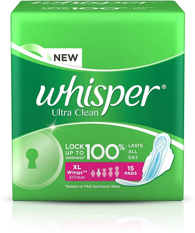 whisper ultra clean XL Wings Sanitary Pad 15 pads