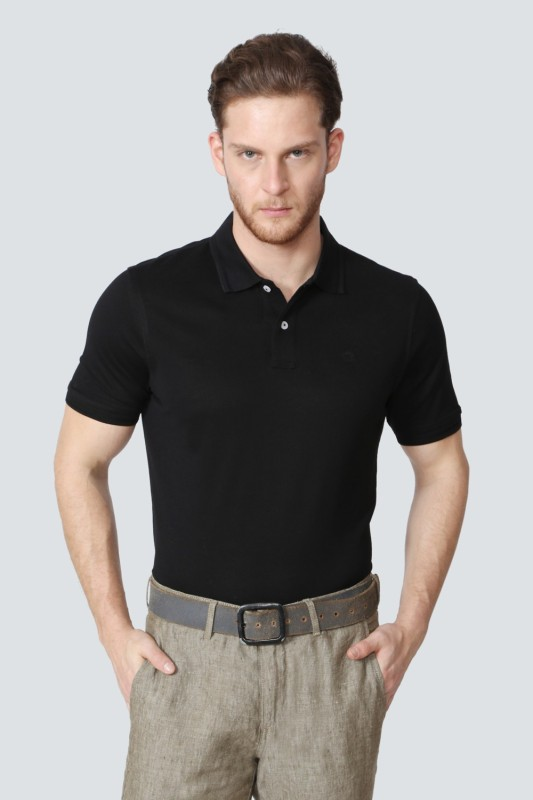 Louis Philippe Solid Men Polo Neck Black T-Shirt