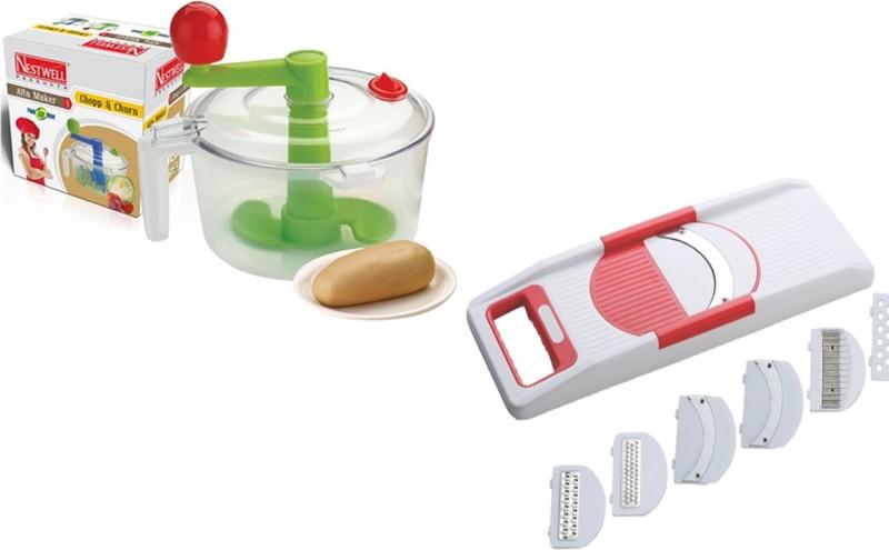 Nestwell Atta Maker WITH Veg. Slicer Plastic Spiral Dough Maker(Multicolor)