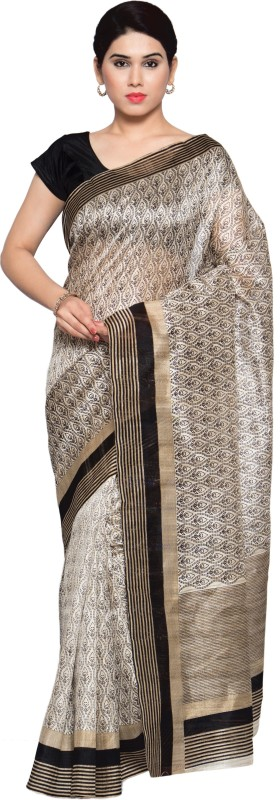 Livie Geometric Print Fashion Art Silk Saree(Beige)