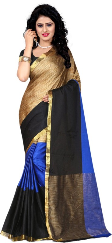 Trendz Style Striped Fashion Cotton Linen Blend, Tussar Silk Saree(Blue, Black)