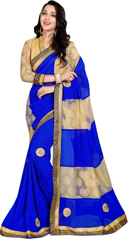 BAPS Embroidered Bollywood Georgette Saree(Beige, Blue)