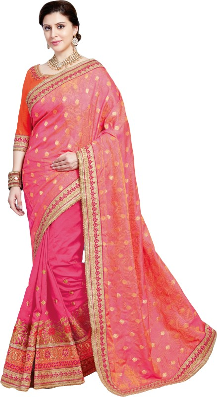 M.S.Retail Embroidered Bollywood Dupion Silk Saree(Pink)