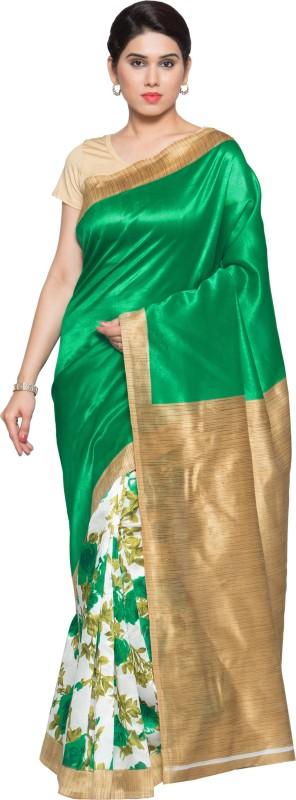 Livie Geometric Print Fashion Art Silk Saree(Green)