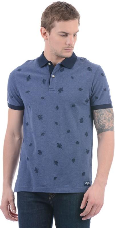 Gant Printed Men Polo Neck Blue T-Shirt