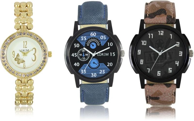 LOREM W06-2-3-203 New Stylish Best Designer Combo Hand Analog Watch - For Men & Women