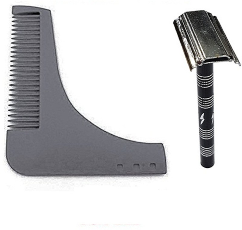 Kabello Beard Shaping Comb & Double Edge Safety Razor for Professional Salon Use(Set of 1)