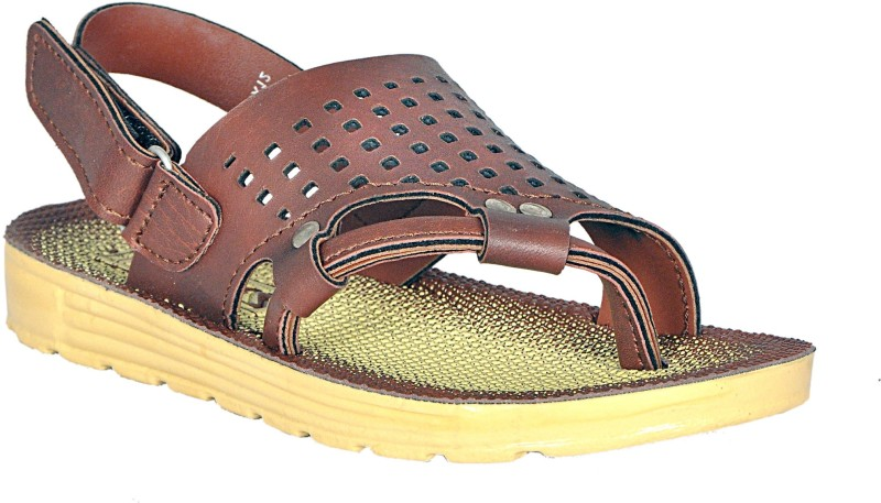 TRZ Boys & Girls Velcro Sports Sandals(Brown)