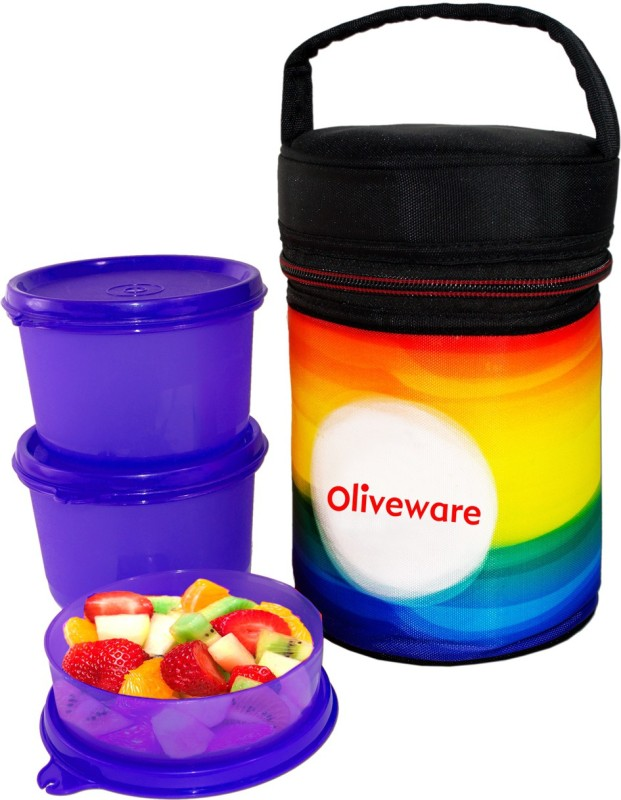 Oliveware New Lunch Box with 3 Containers Lunch Box(1000 ml)