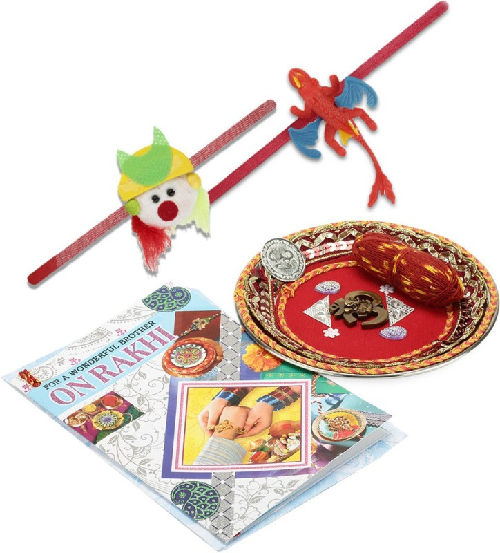 Little India Designer Rakhi(1 Pooja Thali,2 Fancy Rakhi,2 Kids Rakhi,1 Pooja Coin,1 Greeting Card)