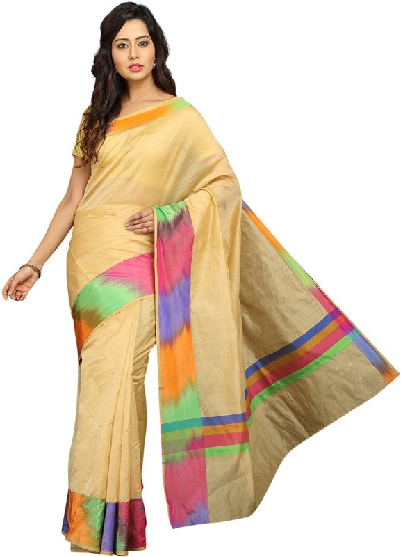 Pavechas Solid Banarasi Silk Cotton Blend Saree(Beige)