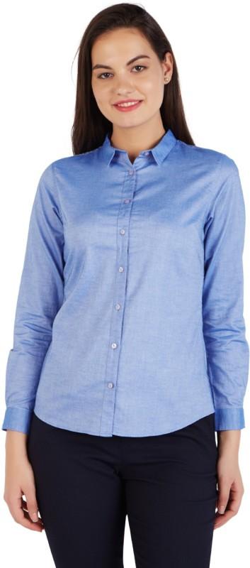 Allen Solly Women Solid Formal Blue Shirt