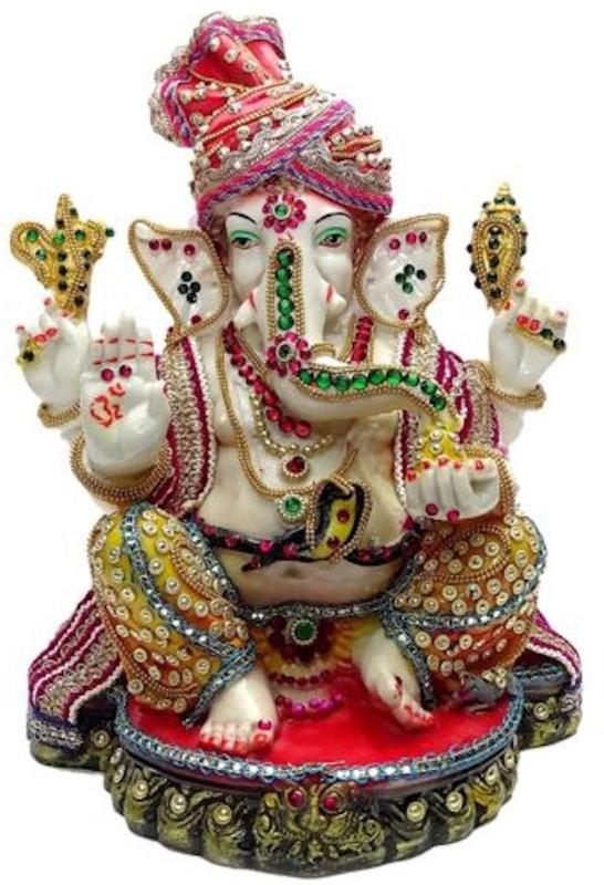 A To Z Traders Ganesh Ji for Home Temple Mandi Decoration Diwali Ganesh chaturthi, Puja/Pooja Showpiece - 20 cm(Marble, Multicolor)