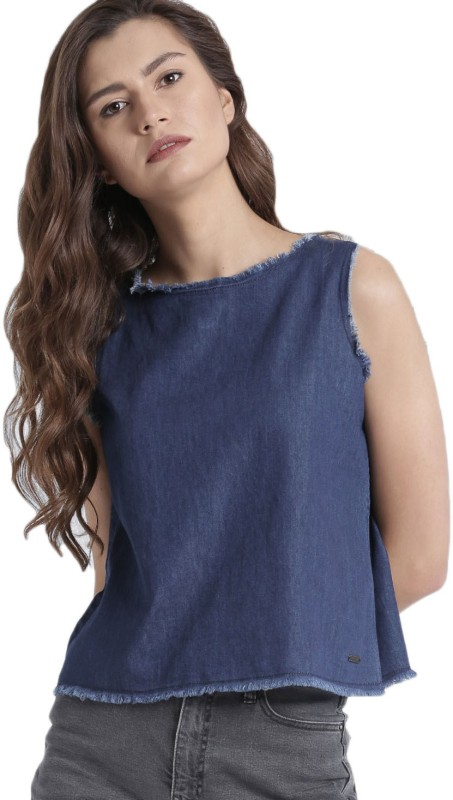 Roadster Casual Sleeveless Solid Women Blue Top