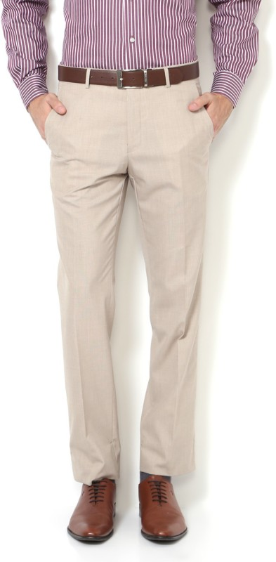Van Heusen Slim Fit Men Beige Trousers