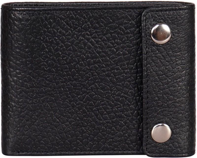 Justanned Men Black Genuine Leather Wallet(7 Card Slots)