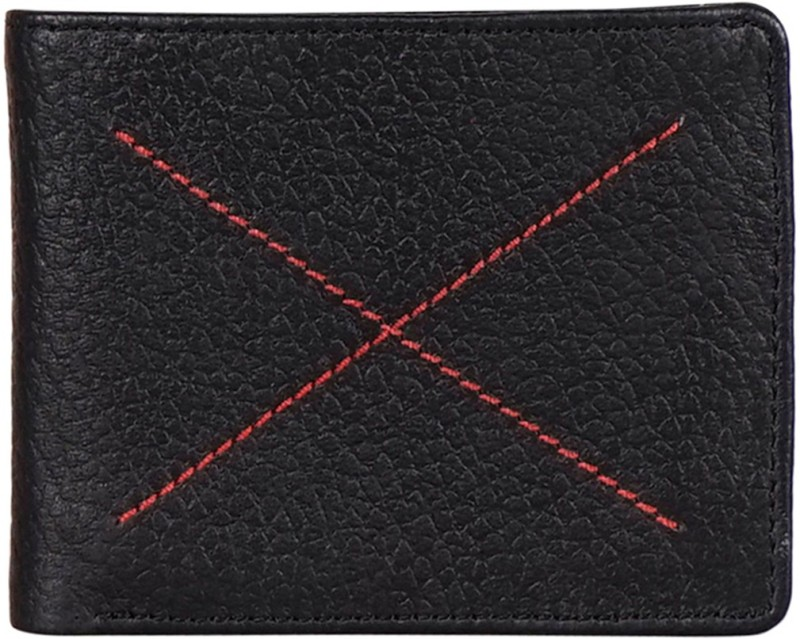 Justanned Men Black Genuine Leather Wallet(4 Card Slots)