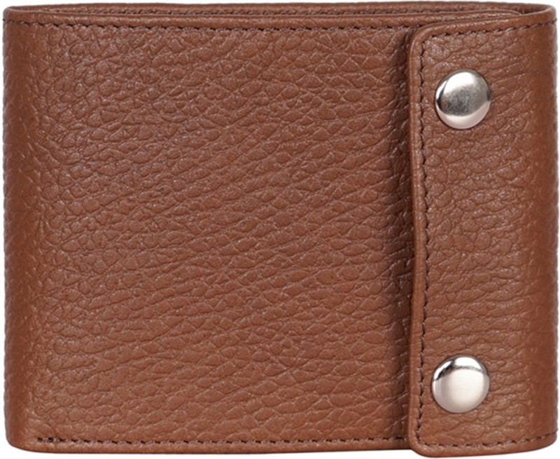 Justanned Men Tan Genuine Leather Wallet(7 Card Slots)