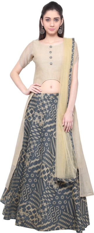 Inddus Cotton Polyester Blend Woven Semi-stitched Lehenga Choli Material
