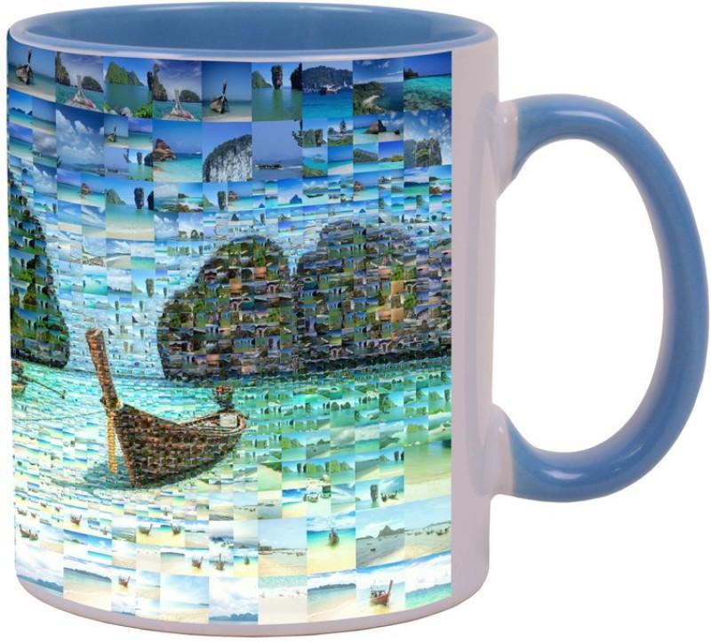 Arkist phuket beach travel Blue Ceramic Mug(340 ml)