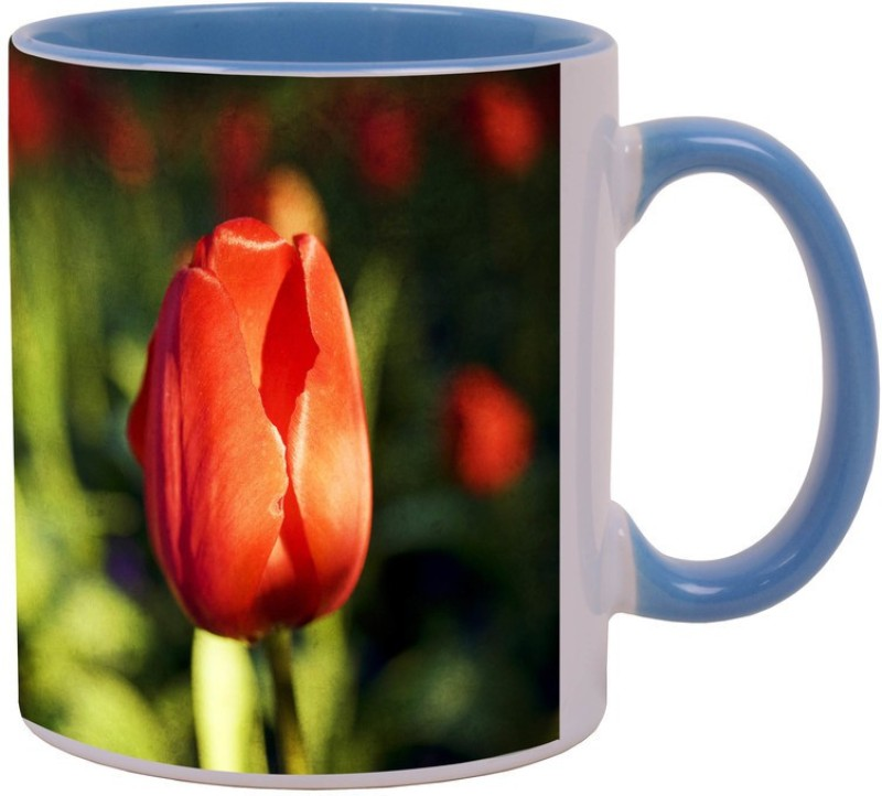 Arkist red tulip bud Blue Ceramic Mug(340 ml)