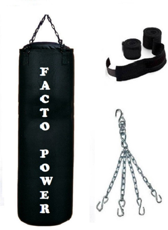 FACTO POWER 3.5 Feet Long, CANVAS Material, BLACK Color, Unfilled with Chain & 9 Feet Long Black Color Hand Wraps Pair Hanging Bag(3.5, 42 kg)