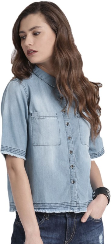 Roadster Women Solid Casual Blue Shirt