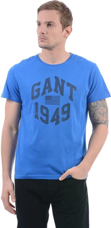 Gant Solid Men Round Neck Blue T-Shirt