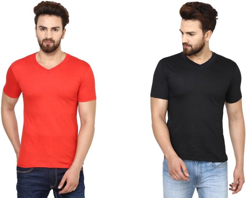BEN HUSHERS Solid Men's V-neck Red, Black T-Shirt(Pack of 2)