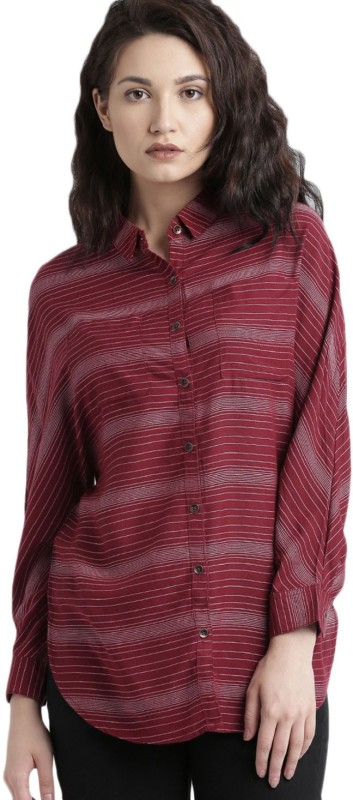 Roadster Casual Full Sleeve Striped Women Red, Grey Top