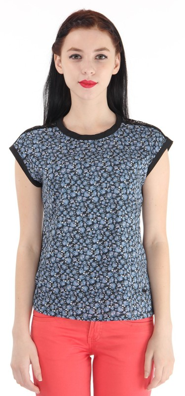 Pepe Jeans Casual Short Sleeve Printed Women Blue Top