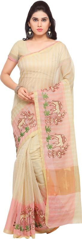 Sarngin Boutique Embroidered Kanjivaram Kota Silk Saree(Blue, Beige)