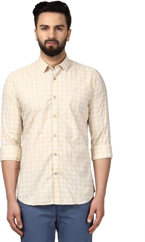 Raymond Men Checkered Formal Beige Shirt