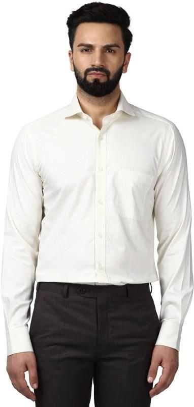 Raymond Men Self Design Formal Beige Shirt