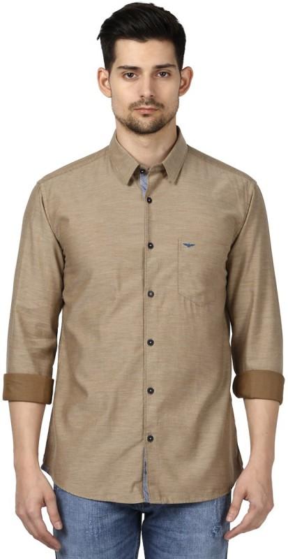 Park Avenue Men Solid Formal Beige Shirt