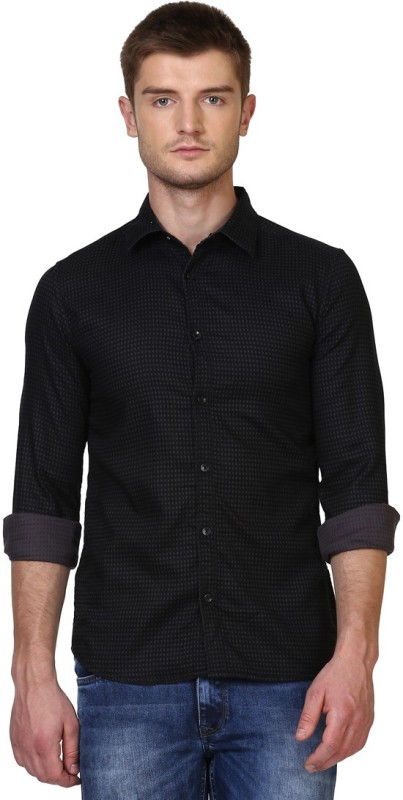 Parx Men Self Design Formal Black Shirt