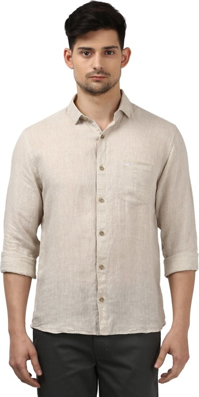 Park Avenue Men Solid Formal Linen Beige Shirt