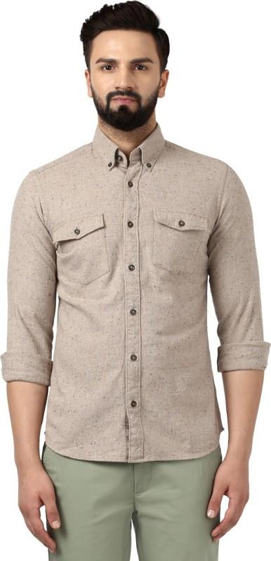 Raymond Men Printed Formal Beige Shirt