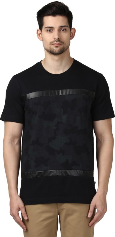 Park Avenue Printed Men Round Neck Black T-Shirt