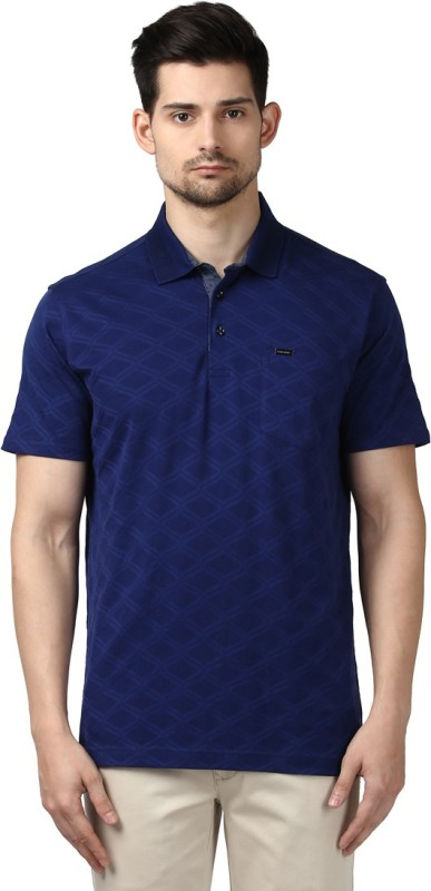 Park Avenue Geometric Print Men Round Neck Blue T-Shirt