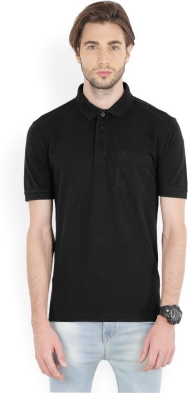 John Players Solid Men Polo Neck Black T-Shirt